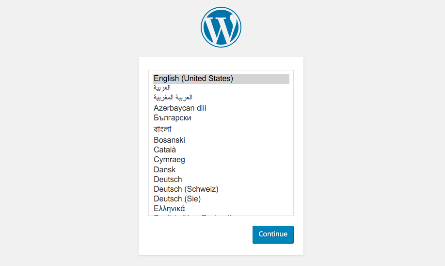 Select language WordPress install