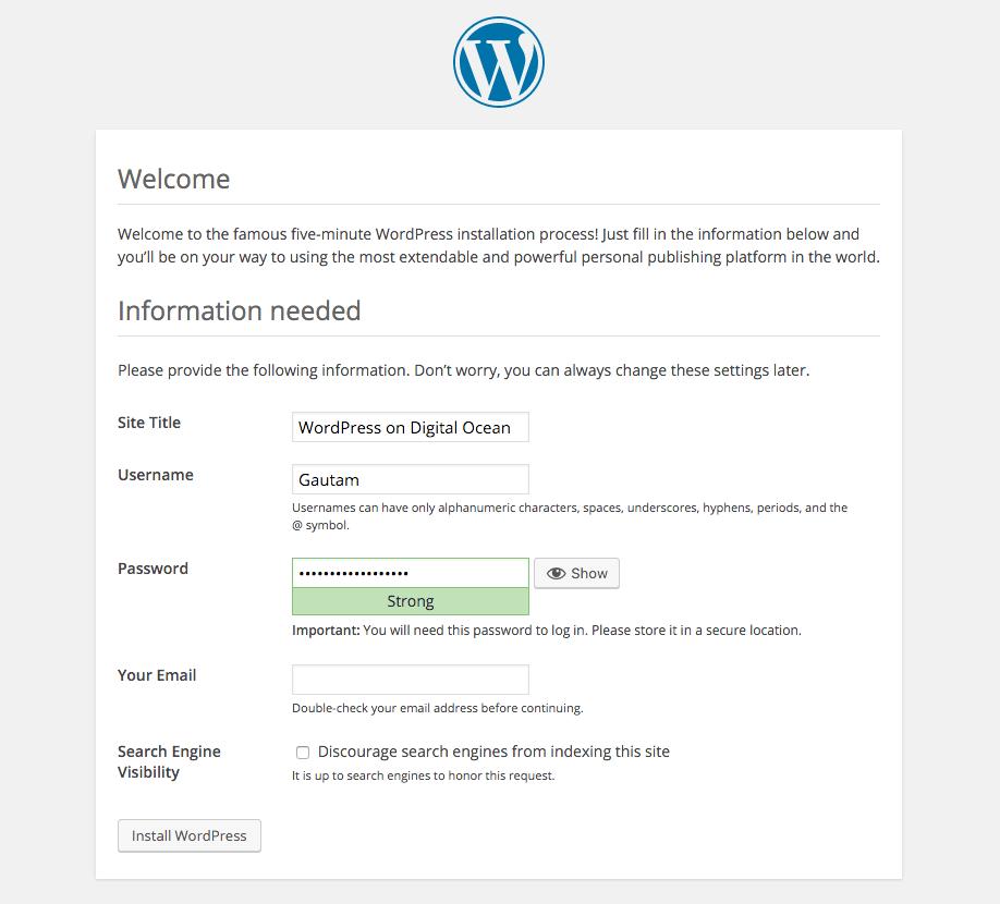 Install WordPress DigitalOcean