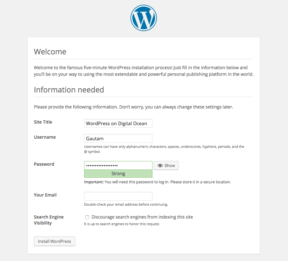 Install WordPress DigitalOcean