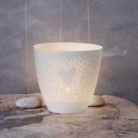 Lyslykt i porselen - Hjerte Image