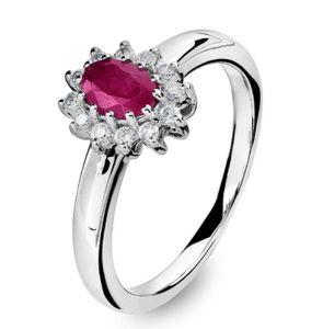 Diamantring rosett med rubin Image
