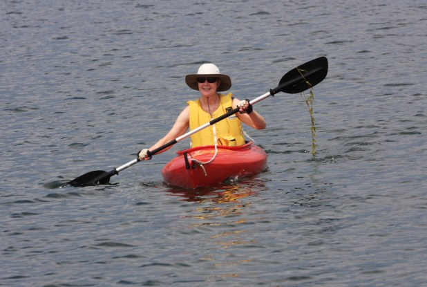 July 29 Julie in a kayak (with salad)