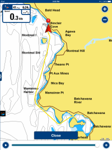 Our route from Batchawana Bay to Sinclair Cove