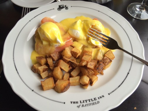 November 12 Smoked Salmon Eggs Benedict at The Little Inn of Bayfield