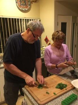 Dan and Elaine preparing the Cioppino