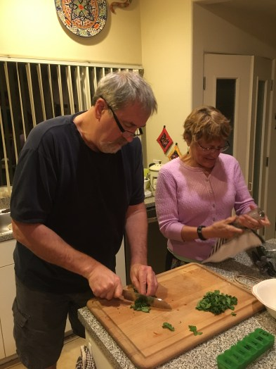 Dan and Elaine preparing the Cioppino