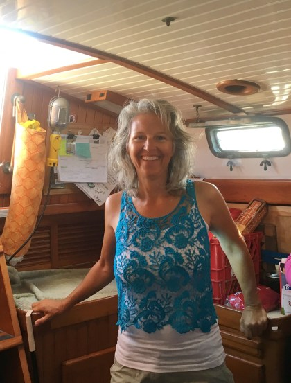 April 23 Heidi aboard her boat S/V Due West