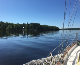 June 28 Pure glass as we head to the Lower Entry on the Keweenaw Waterway
