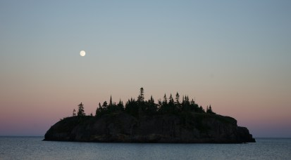 July 18 Moonrise in Cozens Cove - Michipicoten Island Lake Superior