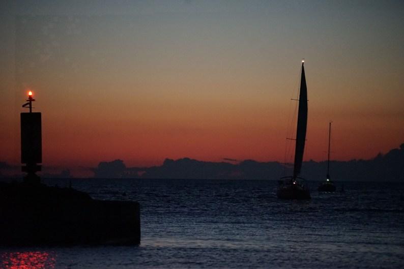 Sailboats arriving at sunset - Port Elgin Ontario