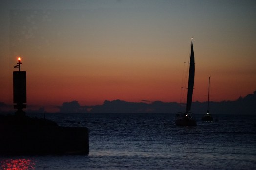 Sailboats arriving at sunset - Port Elgin Ontario
