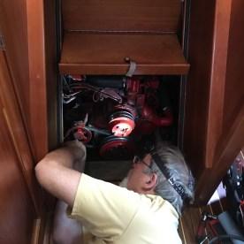 June 7 Dan replacing the fresh water pump for the engine