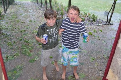 Billy Gilbey and Tom Quinney found that hail chilled puddles