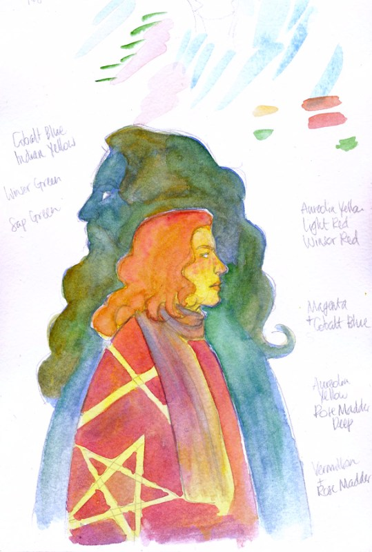 Sir Gawain and the Green Knight watercolour test