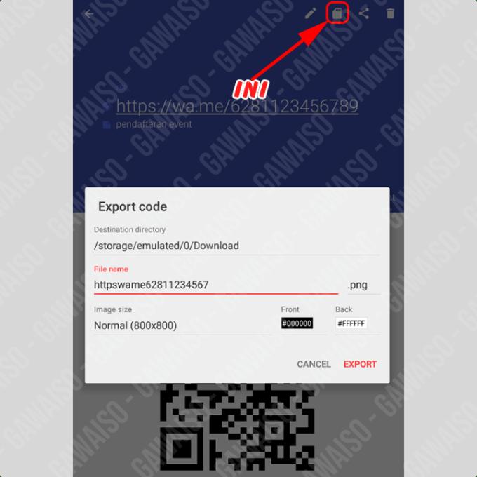 cara membuat barcode whatsapp - export barcode