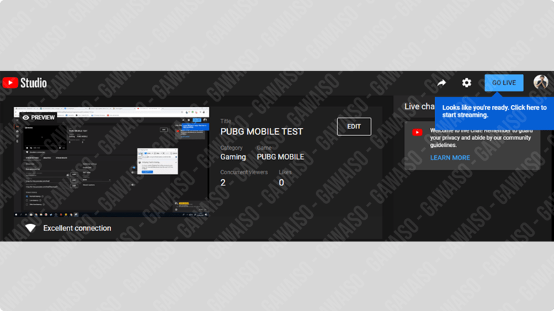 klik tombol go live di youtube studio