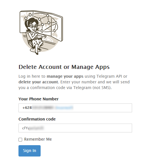 login di halaman penghapusan telegram