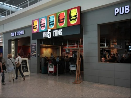 The 5 Tuns Pub in Terminal 5 of Heathrow Airport