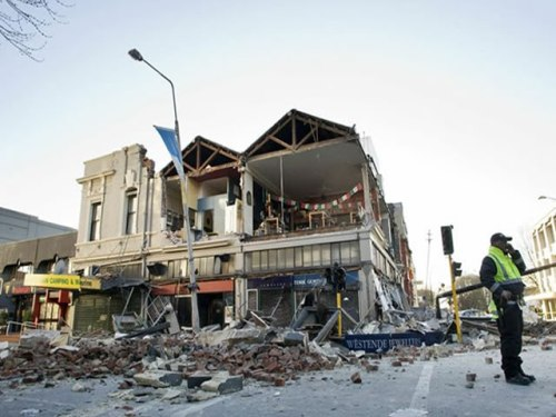 The rubble of the earthquake in New Zealand