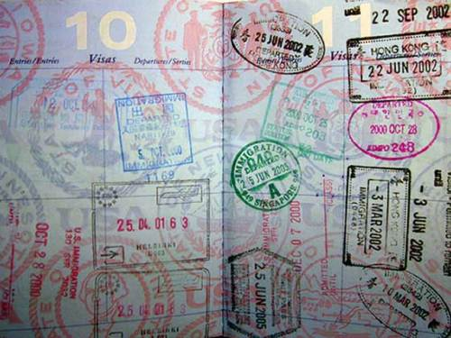 Collection of passport stamps