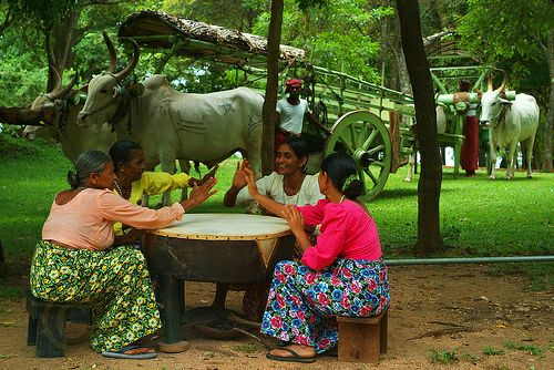 Playing Rabana (Sri Lanka Drum)