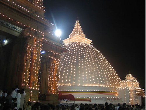 Temple decorated With Lights