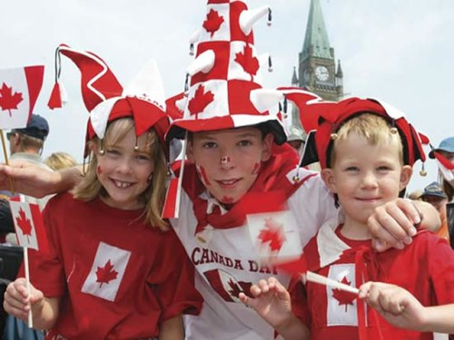 Children Celebrating Canada Day At Parliament Hill