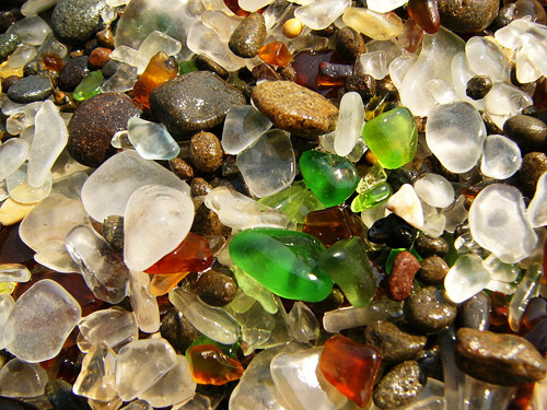 Colorful pieces of glass on Fort Bragg CA Glass Beach