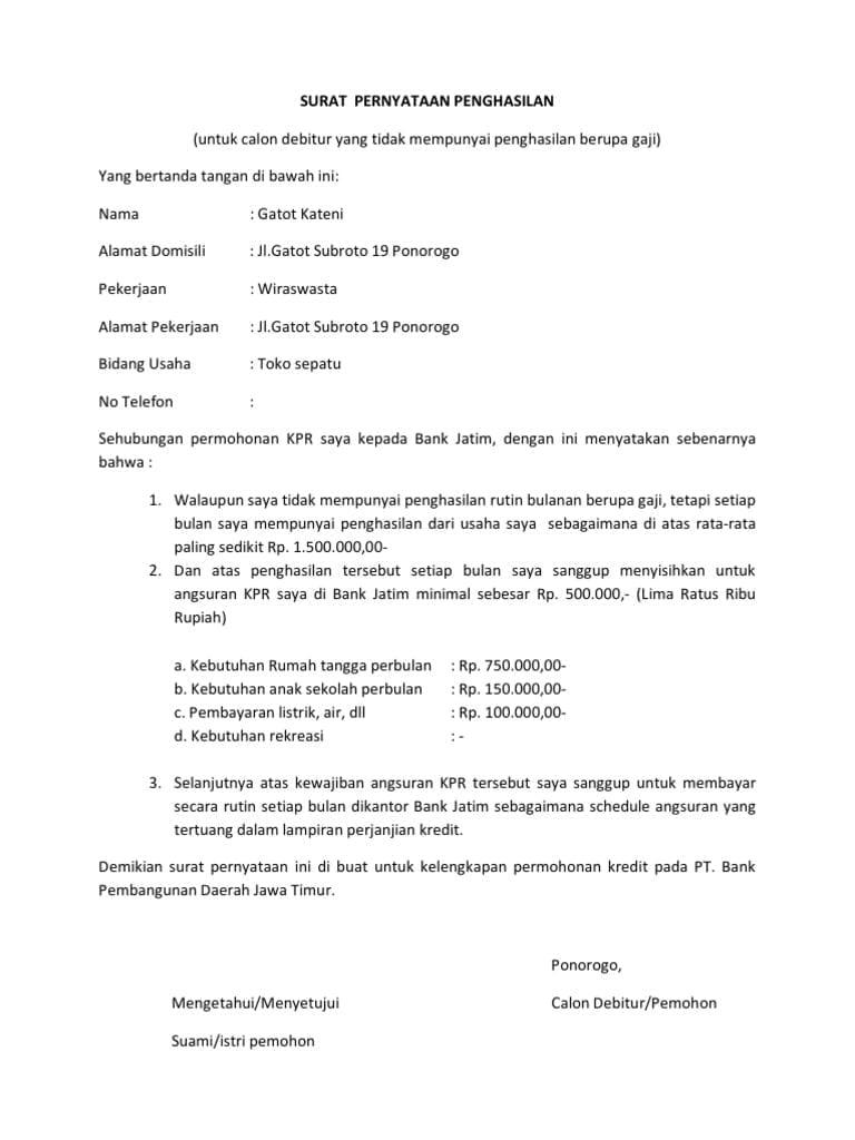 Contoh Surat Keterangan Penghasilan Tunai Download Contoh Surat Yang Benar