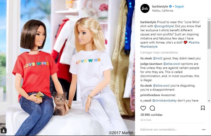 """""""Proud to wear this 'Love Wins' shirt with @songofstyle! Did you know that her exclusive t-shirts benefit different causes and non-profits? Such an inspiring initiative and fabulous few days I have spent with Aimee, she's a doll! 💖 #barbie #barbiestyle"""""""