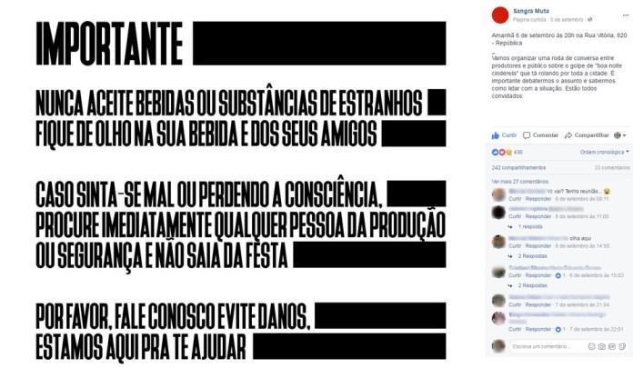 Produtores de festas em São Paulo se reuniram em setembro para discutir golpe (Foto: Reprodução/Facebook