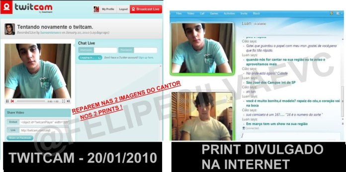 Suposta conversa de Luan Santana que circulava na rede e provável fonte da imagem (Twitcam)