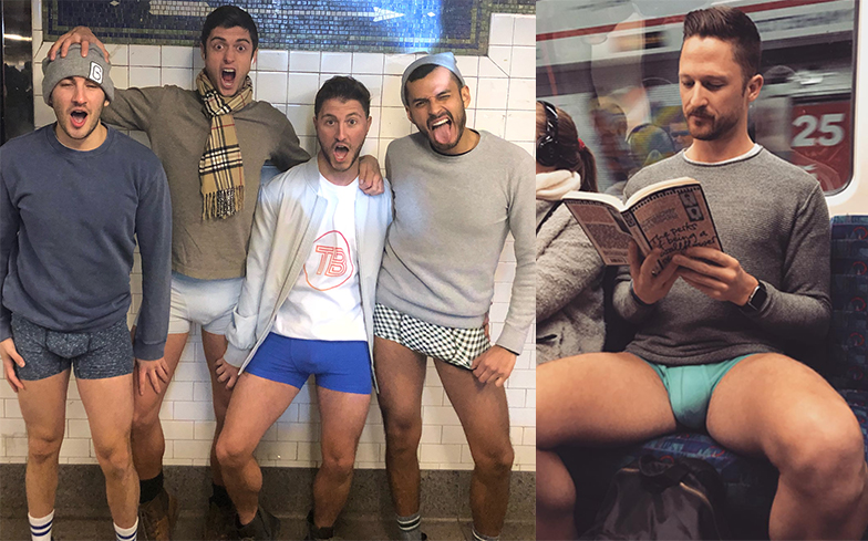 Cidadãos de Nova York mantêm tradição do 'passeio sem calças no metrô'