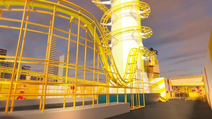 Projeção em 3D mostra como será a montanha-russa que a Skol vai levar para o Largo da Batata no carnaval de 2018 em SP. (Foto: Divulgação/Skol)