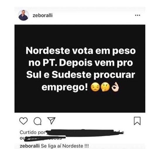 Post de Zé Boralli no Instagram. (reprodução) xenofobia nordeste
