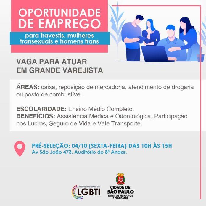 Oportunidade de emprego para travestis e transexuais