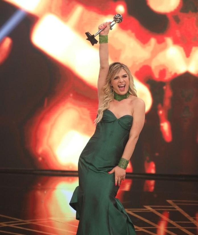 Glamour Garcia é a primeira atriz transexual a conquistar o Troféu Domingão (Foto:Reprodução)