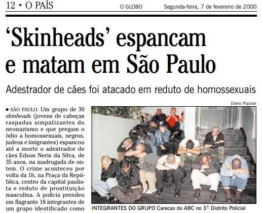 Edson Neris da siçva oi espancado por 30 neonazistas, segundo reportagem de fevereiro de 2000 | Acervo O Globo
