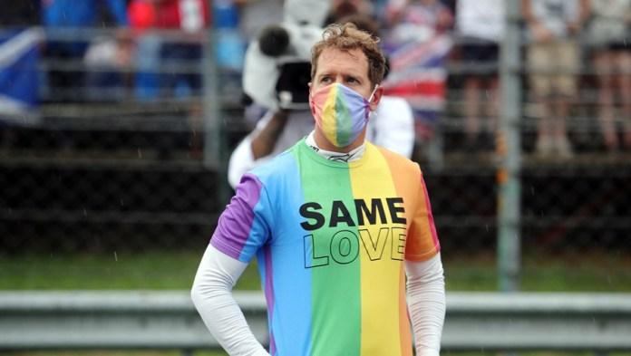 Sebastian Vettel com camisola LGBT