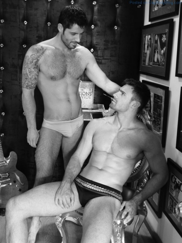 Male models Kirill Dowidoff and Diego Arnary together in a shoot