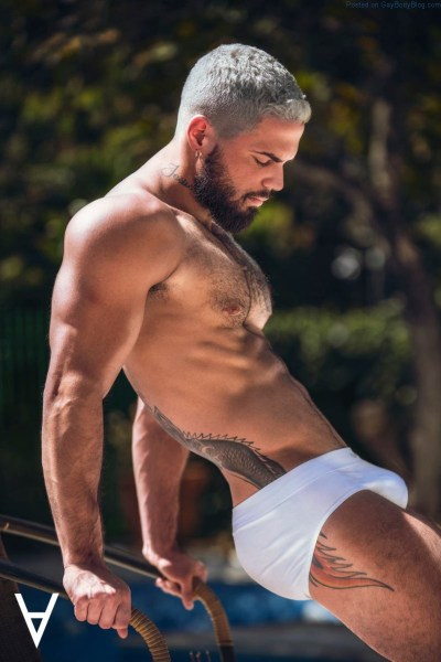 Male model Adriano Cardoso in white underwear