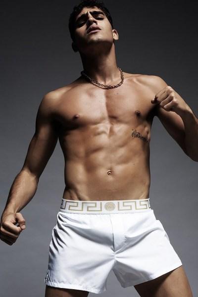 sporty shirtless jock in white shorts