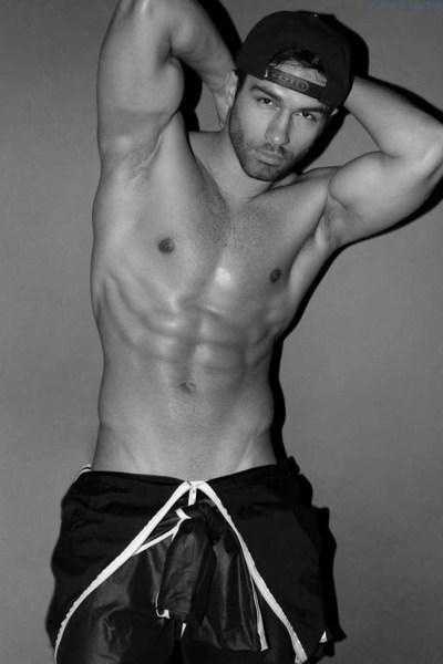 male model Lukasz Zarazowski shirtless