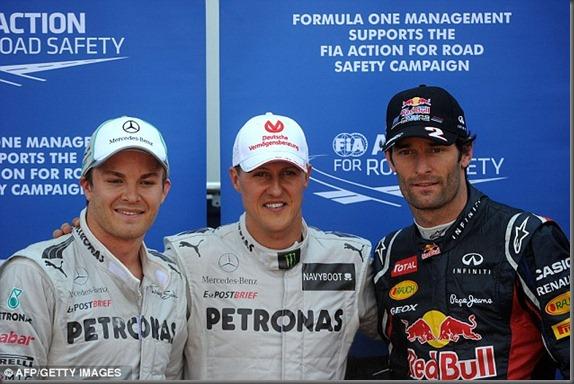 Mark webber - nico rosberg - Michael Schumacher