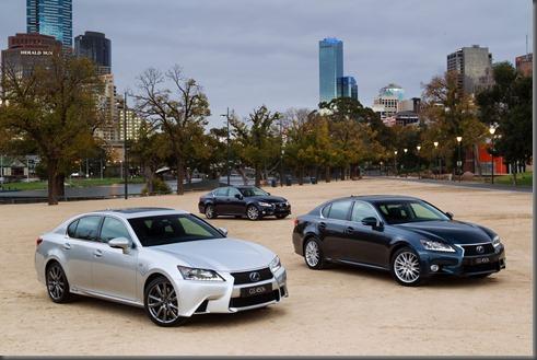 2012 Lexus GS 450h range - F Sport (left), Sports Luxury (right) and Luxury (rear)