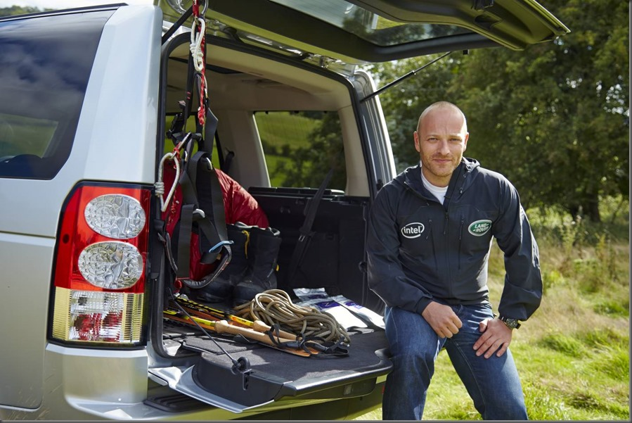 Ben Saunders on the tail gate of his vehicle of choice the Land Rover Discovery 14MY