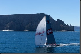 Wild Oats XI enters the Derwent River for the historic race win. A FrancoliniAudi GAYCARBOYS (1)