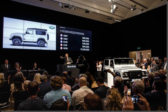 One-of-a-kind Land Rover 'Defender 2,000,000' sold for £400,000 at prestigious charity auction at Bonhams gaycarboys