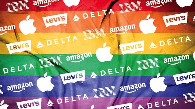 Corporate Logos on Rainbow Flag