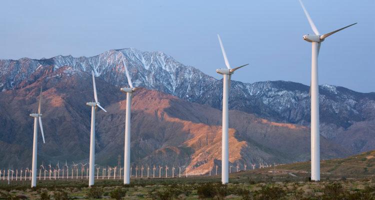 Wind Turbines Snowy Mountains